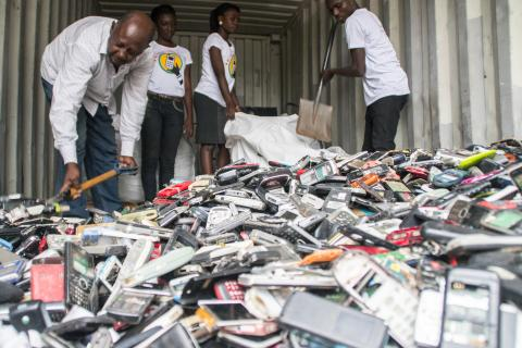 Scrap phones collected in Ghana. These phones are turned into income and urban mined metals.