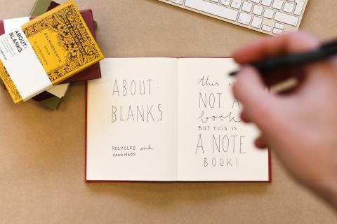 About Blanks sketch- notebooks made from old book covers and recycled materials